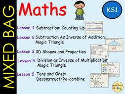 Mixed Bag Maths: Subtraction, Inverse operations, 3D Shapes, Place Value/Partition, Lessons 1-5  KS1