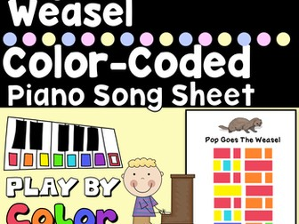 Pop Goes The Weasel Color-Coded Piano Song Sheet, It's Easy to Play by Color!