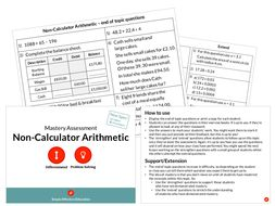 Non-Calculator Arithmetic Mastery Assessment