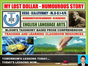 MY LOST DOLLAR - READING PROSE: 16 WORKSHEETS WITH ANSWERS