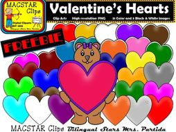 FREEBIE Valentine's Hearts Clipart Personal and Commercial Use Clips