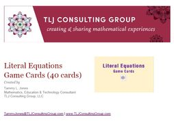 Literal Equations Game Cards (40 Cards)