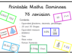 Y6 maths revision dominoes - 7 different sets