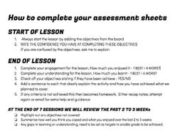 Cycle of learning Student Self Assessment sheet - Enables clear ...