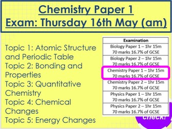 Chemistry Paper 1 Revision AQA Trilogy Foundation
