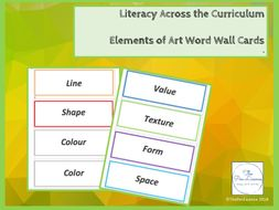 Word Wall Cards for the Seven Elements of Art