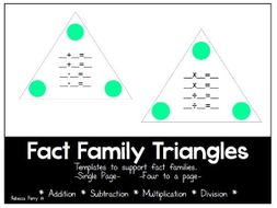 fact family triangles templates math resource addition