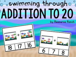 """""""Swimming Through Addition"""" Addition Clip Cards to 20"""