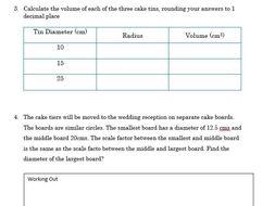 GCSE Foundation Maths/Functional Skills- Making A wedding Cake Worksheet