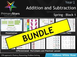 YEAR 1 - Addition & Subtraction - White Rose - COMPLETE Block 1 - Spring BUNDLE