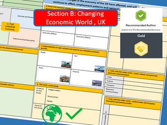 A3 Revision Sheet - AQA 9-1 The Changing Economic World, UK Economic Futures.