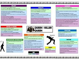 Killer Queen differentiated revision grid (Edexcel 9-1 GCSE Music)