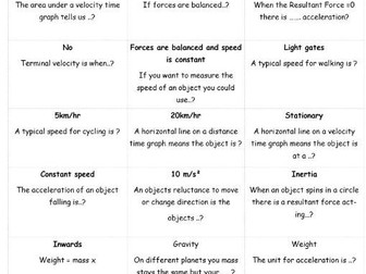 forces and motion revision question chain