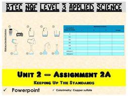 BTEC NQF L3 Applied Science: Unit 2: Assignment A: Colorimetry powerpoint