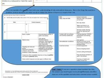 Exam revision sheets for Level 1/2 Vocation Award Hospitality and Catering WJEC/Eduqas