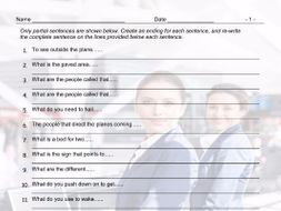 Airports and Hotels Sentence Finishers Worksheet