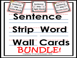 Sentence Strip Word Cards: Bundle 100+ Words
