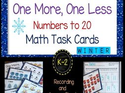 One More, One Less Numbers to 20 - Winter Task Cards