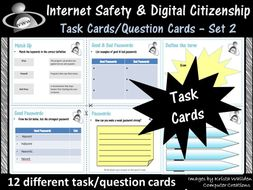 Internet Safety and Digital Citizenship Task Cards/Question Cards - Set 2