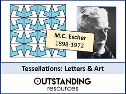 Tessellations 2 - Letters & Art / Design (M.C. Escher) + worksheet
