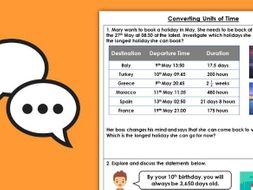 Year 5 Converting Units of Time Summer Block 4 Maths Discussion Problems