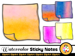 Watercolor Paint Sticky Note Clip Art