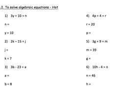 year 6 algebra solving equation through substitution. Black Bedroom Furniture Sets. Home Design Ideas