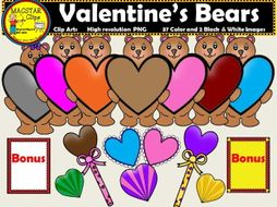 Valentine's Bears with Hearts Clipart Personal and Commercial Use Clips