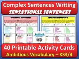 Complex Sentence Writing Ambitious Vocabulary