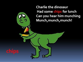 Fun with phonics  .  The ch digraph. Charlie the dinosaur