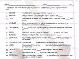 Airports and Hotels Exam Study Sheet