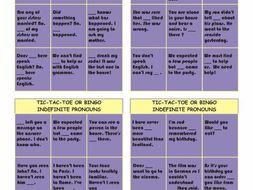 Indefinite Pronouns Tic-Tac-Toe or Bingo