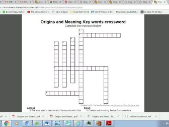 Eduqas Route B Origins and Meaning: Theme 1 Key words crossword puzzle