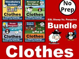 BUNDLE Sheep Vs. Penguins. Interactive PowerPoint Games for CLOTHES Vocabulary