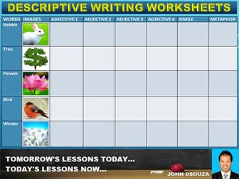 DESCRIPTIVE WRITING : WORKSHEETS AND TASK CARDS