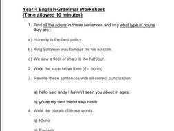 Year 4 Spag Worksheet Sats Practice By Manju03 Teaching Resources
