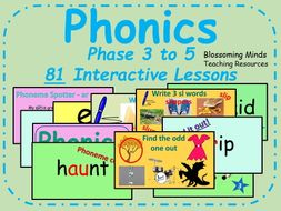 Phonics phases 3 to 5 lesson bundle (81 interactive lessons)