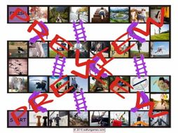 Prepositions of Movement with Photos Chutes and Ladders Board Game
