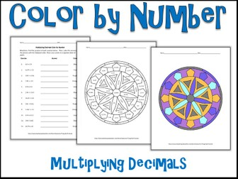 Multiplying Decimals Color by Number