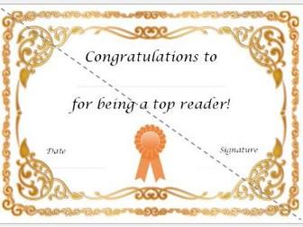 Top Reader Certificate