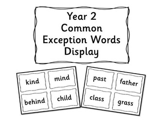 Year 2 Common Exception Word Display