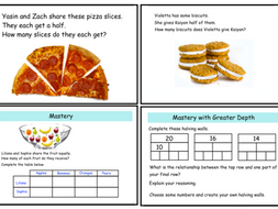 Sharing in Halves and Quarters Questions - Year 1 (notebook)