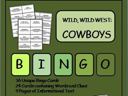 Reading Passages and Bingo - Wild West Cowboys