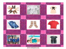 Clothing & Fashion Cards 4 Pages = 36 Cards
