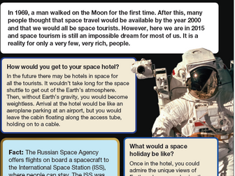 Space Tourism Comprehension KS2
