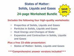 States of Matter: Solids, Liquids and Gases [Worksheet Bundle]