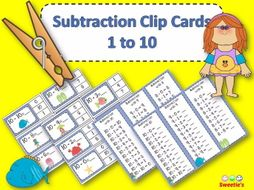 Subtraction Facts Clip Cards for 1 to 10 - OCEAN