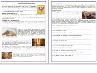 A Brief History of Ancient Egypt - Reading Comprehension Worksheet / Text
