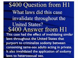 Jeopardy Game Homosexuality Sodomy Law LAWRENCE v. TEXAS Gay Rights