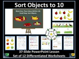 Sorting Objects: Year 1 - Autumn Term - PowerPoint Lesson  and 12 Worksheets - For White Rose Maths